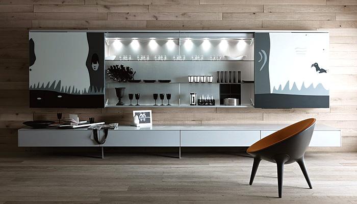 Arredamenti moderni soggiorno librerie pareti attrezzate tavoli e ...